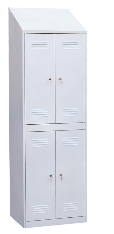 Шкаф для одежды четырехсекционный с наклонной крышей