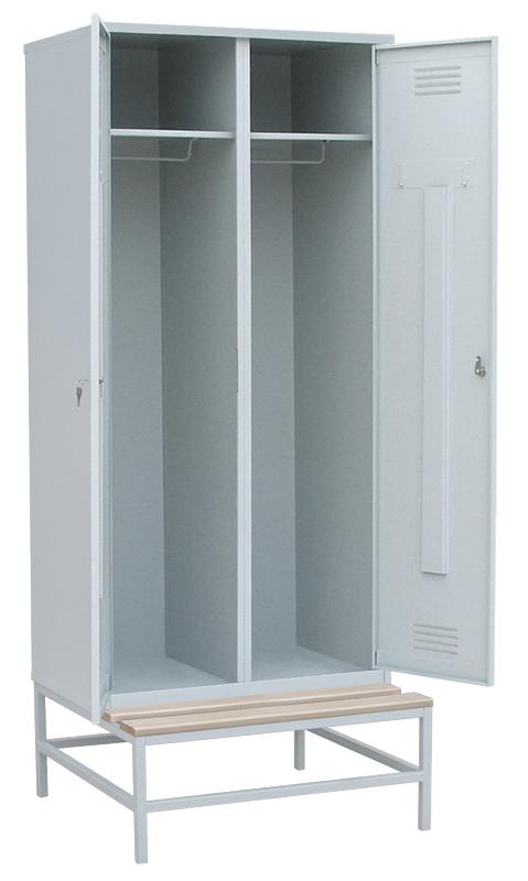 Шкаф для одежды на подставке с деревянной скамьей