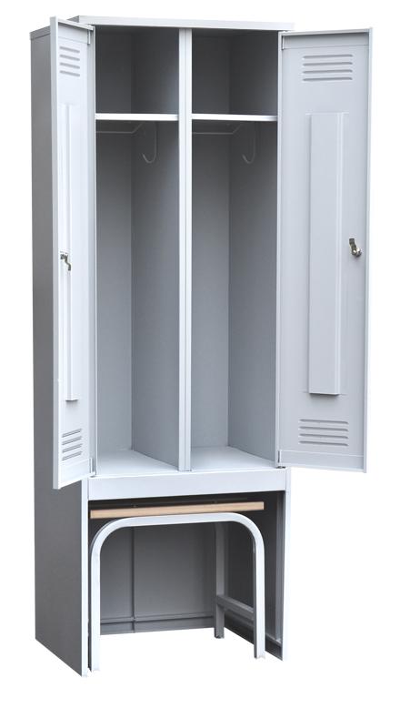 Шкаф для одежды двухстворчатый с задвижной скамьей (верх липа)