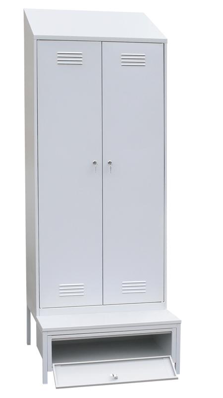 Шкаф для одежды 2-х ств. с наклонной крышей на подставке с ящиком