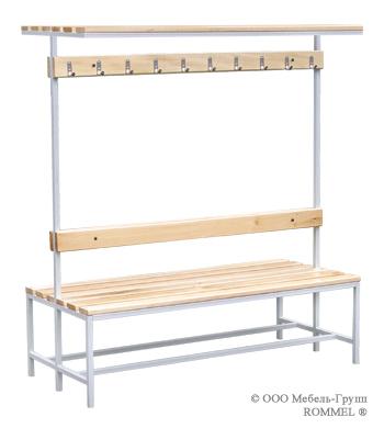 Скамья для спортивных раздевалок двухсторонняя с полкой для головного убора