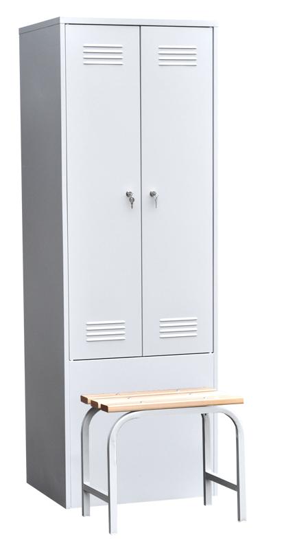 Шкаф для одежды двухстворчатый с приставной скамьей (верх липа)